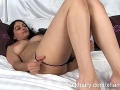 Super hairy Indian lady Rani masturbates